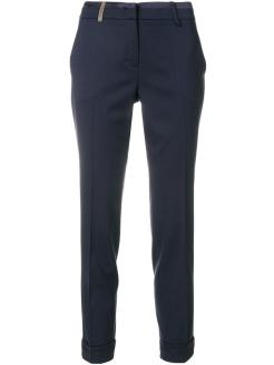 peserico-blue-Tailored-Cropped-Trousers